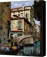 Gondola Canvas Prints - Rio Degli Squeri Canvas Print by Guido Borelli