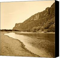 Big Bend Canvas Prints - Rio Grand Big Bend Monochrome Canvas Print by M K  Miller