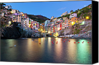 Building Canvas Prints - Riomaggiore After Sunset Canvas Print by Sebastian Wasek