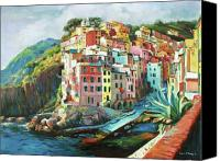 Amalfi Coast Canvas Prints - Riomaggiore Italy Canvas Print by Conor McGuire