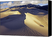 Sangre De Cristo Mountains Canvas Prints - Rippled Sand Dunes With Sangre De Canvas Print by Tim Fitzharris