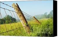 Family Farm Canvas Prints - Rising Mist with Falling Fence Canvas Print by Thomas R Fletcher
