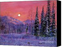 Snowy Night Painting Canvas Prints - Rising Snow Moon Canvas Print by David Lloyd Glover