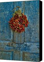 Red Door Canvas Prints - Ristra on a Blue Door Canvas Print by Dusty Demerson