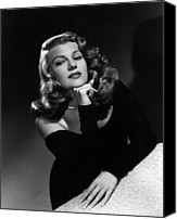 Wavy Hair Canvas Prints - Rita Hayworth, Portrait Ca. 1948 Canvas Print by Everett