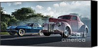 Antique Automobiles Digital Art Canvas Prints - Rivals Canvas Print by Richard Rizzo