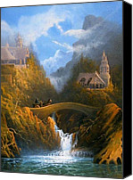 Lord Of The Rings Painting Canvas Prints - Rivendell The Lord Of The Rings Tolkien inspired art   Canvas Print by Joe  Gilronan