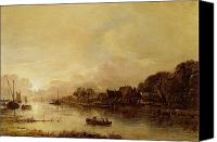 Rowers Canvas Prints - River landscape  Canvas Print by Aert van der Neer