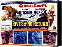 1950s Poster Art Canvas Prints - River Of No Return, Marilyn Monroe Canvas Print by Everett