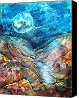 Moon Mixed Media Canvas Prints - River of Souls Canvas Print by Patricia Allingham Carlson
