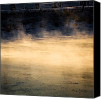 Winter Canvas Prints - River Smoke Canvas Print by Bob Orsillo