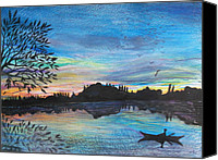 River Framed Prints Painting Canvas Prints - River Sunset Canvas Print by Hayley Knowles