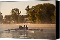 Rowers Canvas Prints - River Thames Rowers Canvas Print by Dawn OConnor
