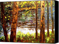 Giclee Trees Canvas Prints - River Trees Canvas Print by John  Nolan