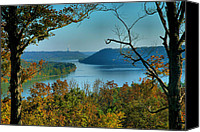Indiana Autumn Canvas Prints - River View I Canvas Print by Steven Ainsworth