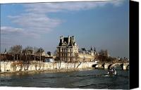 River View In Paris Canvas Prints - River View in Paris Canvas Print by John Rizzuto