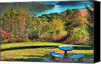 Indiana Autumn Canvas Prints - River View IV Canvas Print by Steven Ainsworth