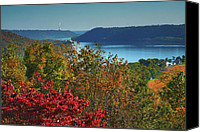 Indiana Autumn Canvas Prints - River View V Canvas Print by Steven Ainsworth
