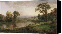 Riverside Canvas Prints - Riverscape in Early Autumn Canvas Print by Jasper Francis Cropsey
