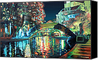 Christmas Painting Canvas Prints - Riverwalk Canvas Print by Baron Dixon