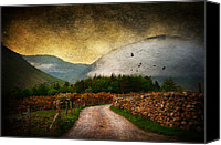 Rural Scenes Mixed Media Canvas Prints - Road by the Lake Canvas Print by Svetlana Sewell