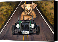 Pig Painting Canvas Prints - Road Hog Canvas Print by Leah Saulnier The Painting Maniac