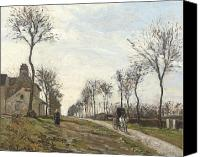 Cart Driving Canvas Prints - Road in Louveciennes Canvas Print by Camille Pissarro
