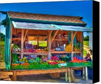 Vendor Canvas Prints - Road Side Fruit Stand Canvas Print by William Wetmore