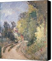 Turning Painting Canvas Prints - Road Turning under Trees Canvas Print by Paul Cezanne
