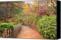 Road Travel Canvas Prints - Road With Fence Canvas Print by ~~**Yuri