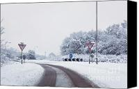 Roundabout Canvas Prints - Road with give way signs in the snow Canvas Print by Richard Thomas