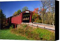 Indiana Autumn Canvas Prints - Roann Covered Bridge Wabash County Indiana Canvas Print by Marsha Williamson Mohr