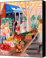 Person Painting Canvas Prints - Roanoke City Market Shopping Canvas Print by Todd Bandy