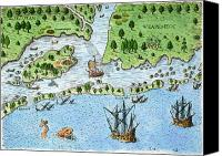 Roanoke Island Canvas Prints - Roanoke Landing, 1585 Canvas Print by Granger