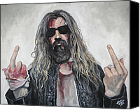 House Painting Canvas Prints - Rob Zombie Canvas Print by Tom Carlton