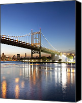 Harlem River Canvas Prints - Robert F Kennedy (rfk) Bridge At Sunset Canvas Print by John Cardasis