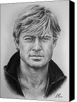 Person Drawings Canvas Prints - Robert Redford Canvas Print by Andrew Read