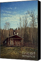 Log Canvas Prints - Robert Service Cabin Canvas Print by Priska Wettstein
