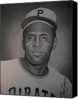 Roberto Drawings Canvas Prints - Roberto Clemente Canvas Print by Christian Garcia