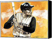 Pittsburgh Pirates Drawings Canvas Prints - Roberto Clemente Canvas Print by Dave Olsen