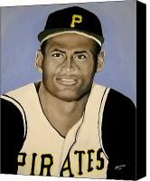 Clemente Painting Canvas Prints - Roberto Clemente Canvas Print by Edwin Alverio
