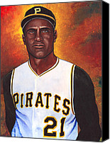 Major League Baseball Painting Canvas Prints - Roberto Clemente Canvas Print by Steve Benton