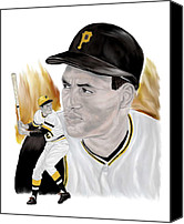 Mlb Painting Canvas Prints - Roberto Clemente Canvas Print by Steve Ramer