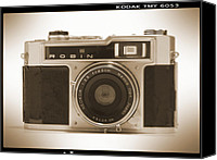 Black Digital Art Canvas Prints - Robin 35mm Rangefinder Camera Canvas Print by Mike McGlothlen