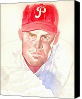 Phillies Drawings Canvas Prints - Robin Roberts in progress Canvas Print by Robert  Myers