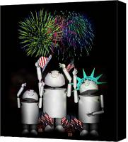 4th July Mixed Media Canvas Prints - Robo-x9 and Family Celebrate Freedom Canvas Print by Gravityx Designs