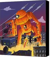 Featured Canvas Prints - Robot vs Batman Canvas Print by Javier Bernardino