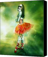 Dancer Digital Art Canvas Prints - Robots Can Dream too Canvas Print by Karen Koski