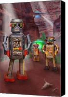 Ufo Canvas Prints - Robots With Attitudes 2 Canvas Print by Mike McGlothlen