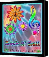 Black Tie Canvas Prints - Rock Music Poster Canvas Print by Linda Seacord